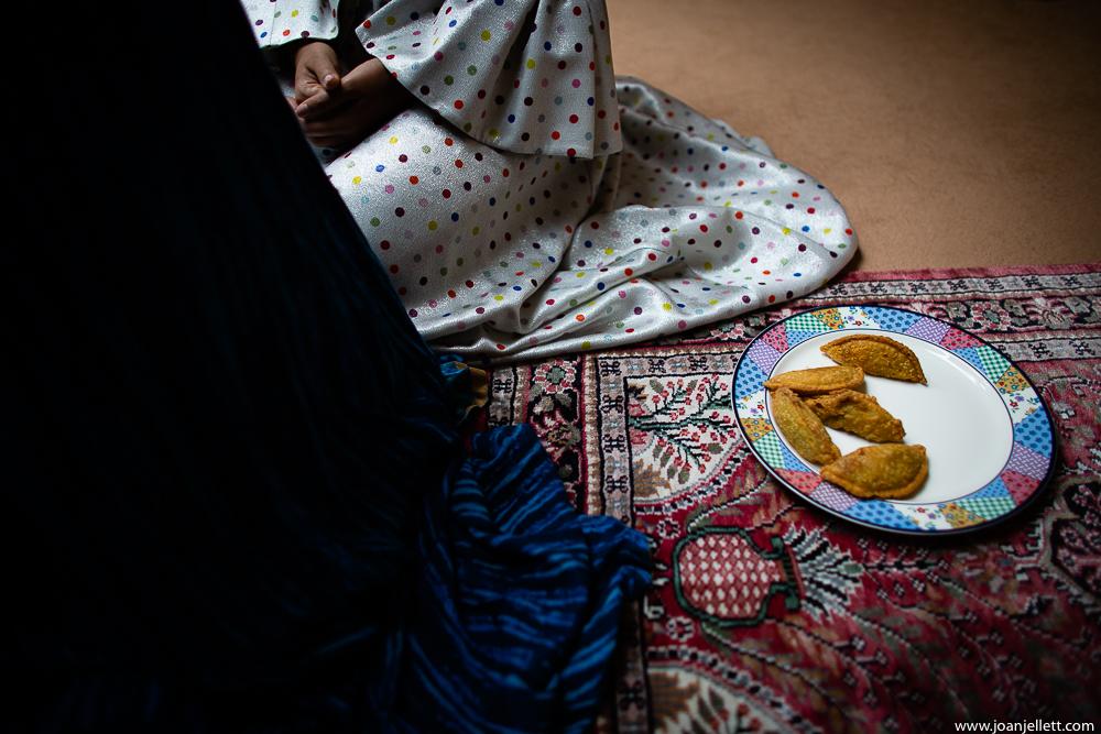 food on a plate on the floor