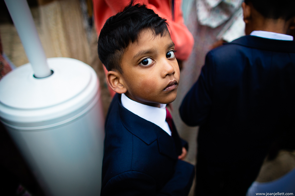 little boy staring at the camera