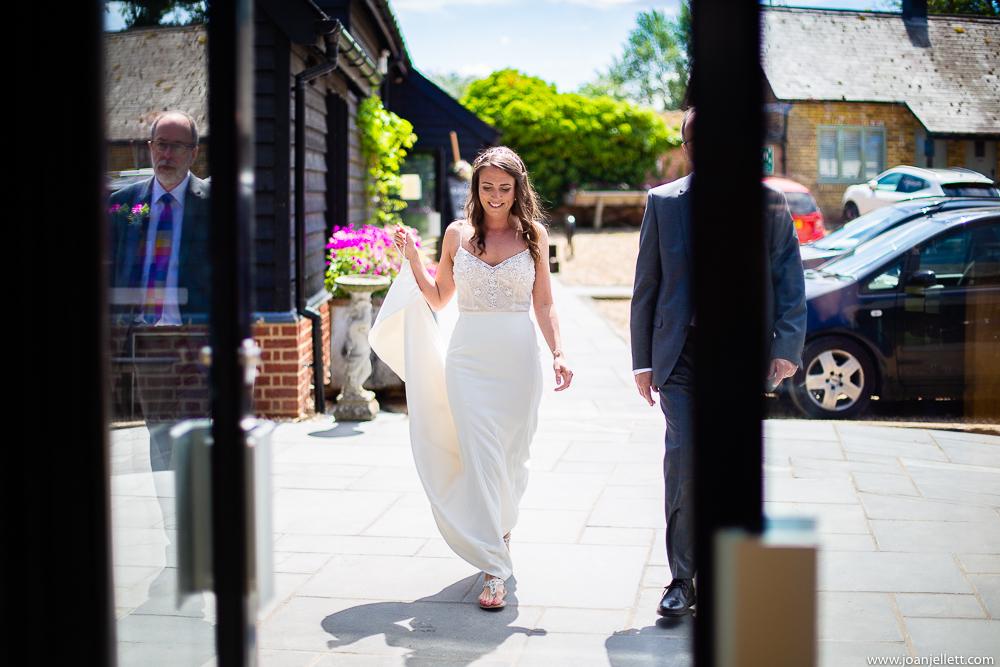 Bride walking towards the altar