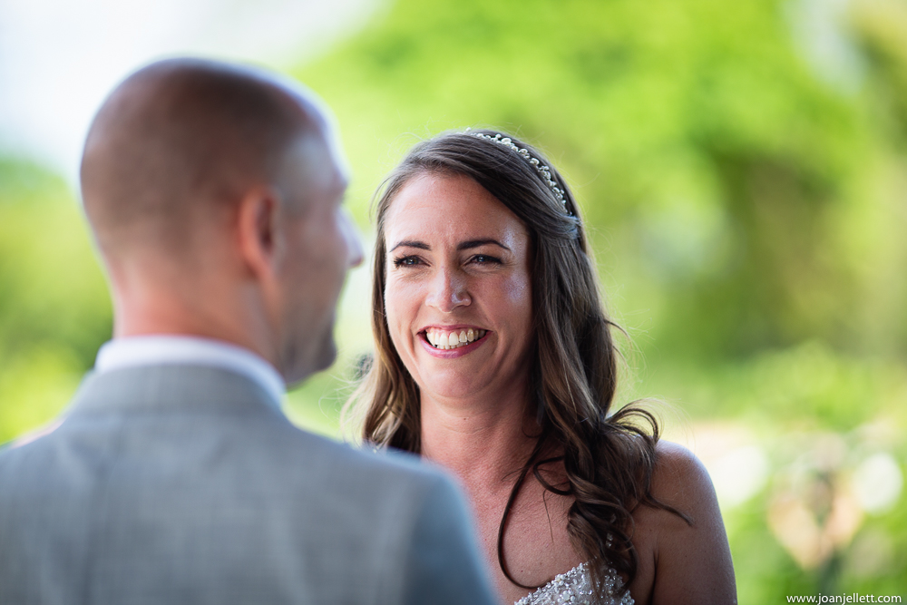 close up on bride's face