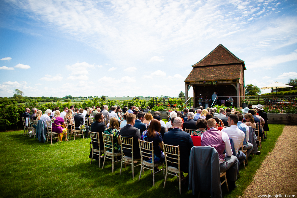 Guests waiting farmhouse at redcoats wedding photography