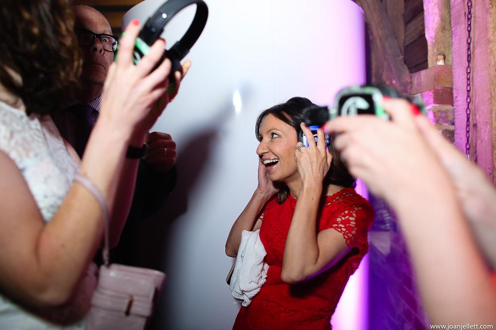 guests having headphones put on