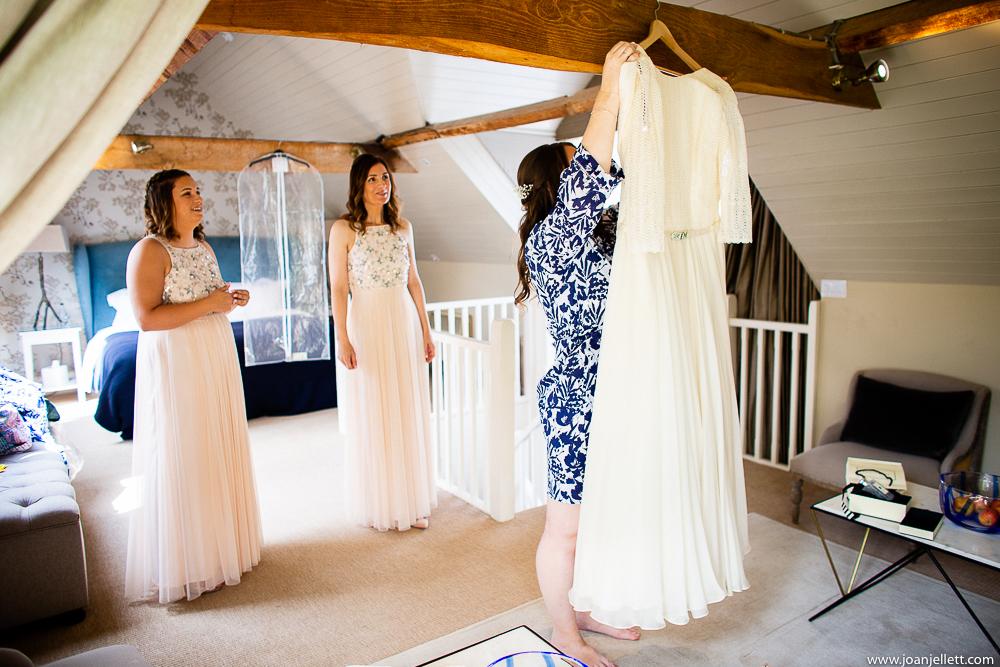bride holding her dress up