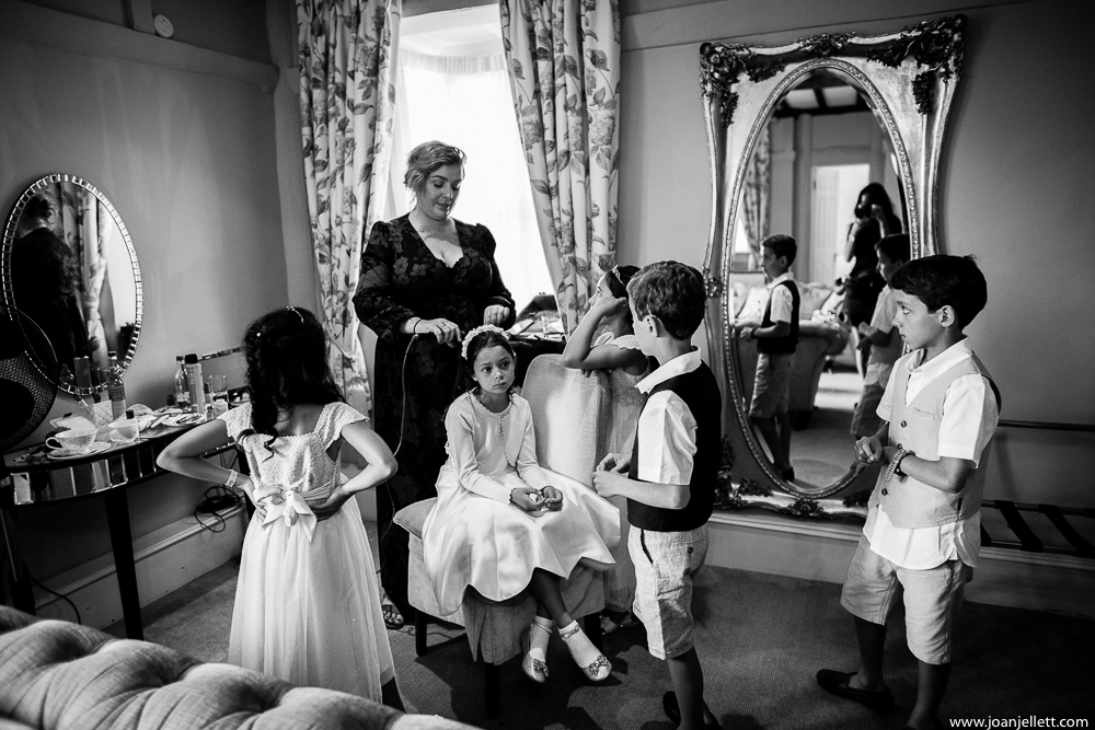 black and white bridal prep kids on chairs