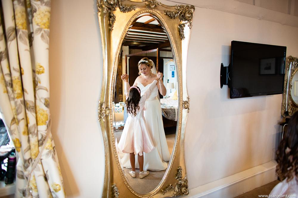 bride shot in the mirror