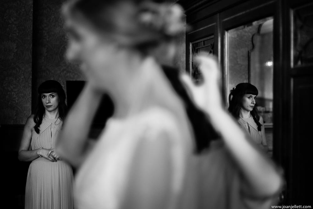 bridesmaid looking at the bride