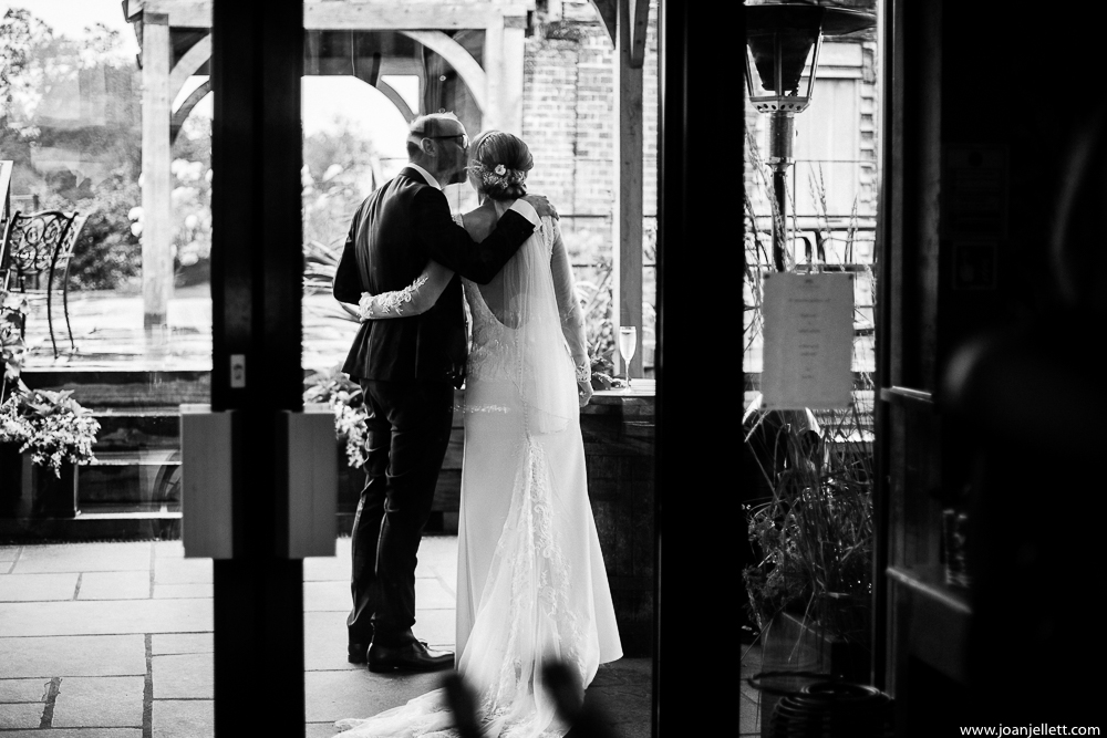 bride and groom taking a moment together