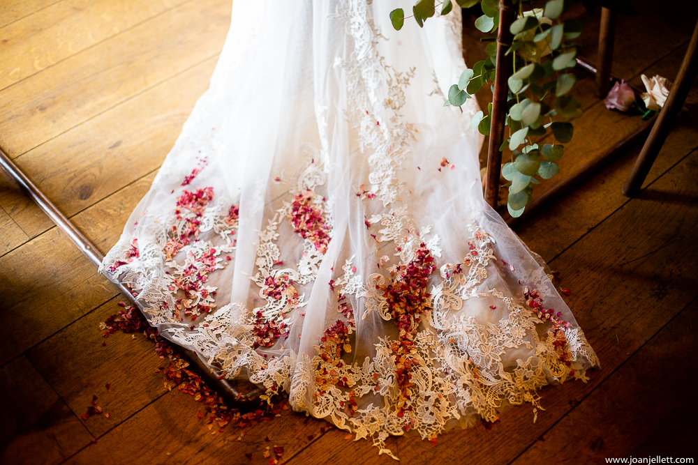 detail shot of dress and confetti